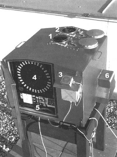 Rysunek 2 Automatyczna stacja fotograficzna należąca do czeskiej sieci bolidowej: ~1 - obiektyw, 2 - kamera CCD i fotometr, 3 - czujnik opadów, 4 - magazynek z filmami, 5 - panel sterujący, 6 - nawiew powietrza.